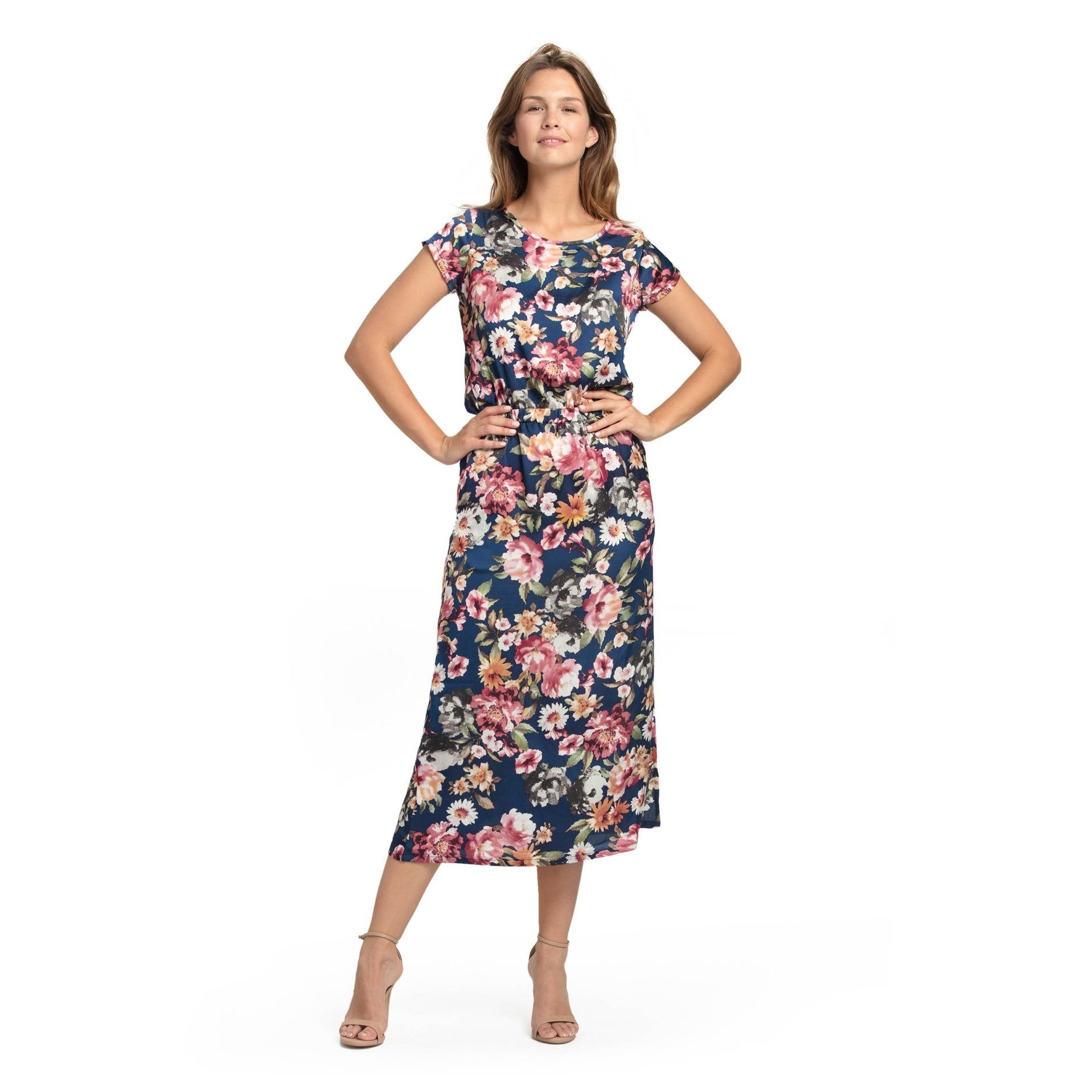 Bluberry Women's Rose Mallow Floral Maxi Dress (L), Pink ...