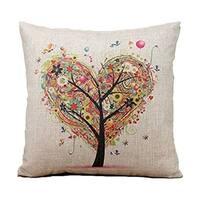 Cotton Linen Pillow Case Heart Tree 18 x18