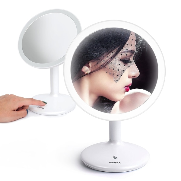 INNOKA 90° Swivel USB Rechargeable LED Makeup Mirror Round Illuminated Cosmetic Mirror - White - A/N