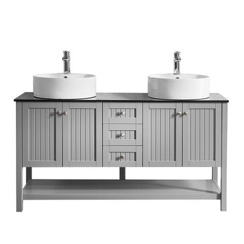 "Modena 60"" Double Vanity in Grey with Glass Countertop"