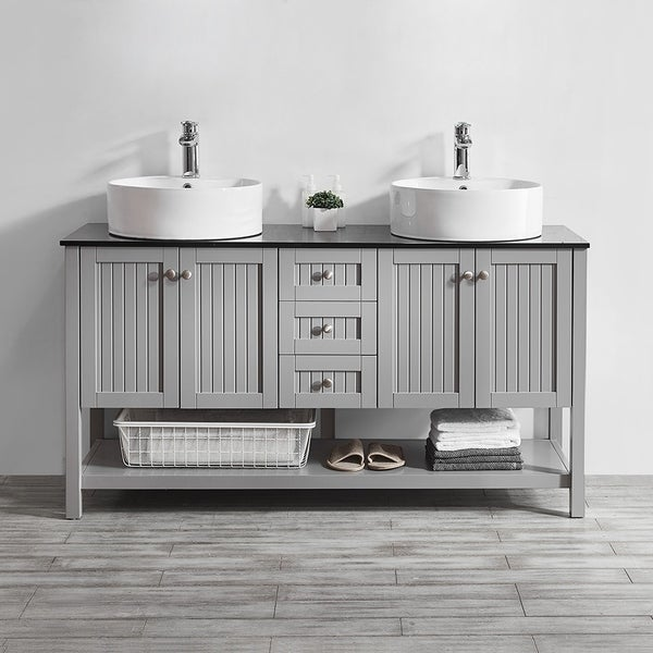 Shop Modena 60 Quot Double Vanity In Grey With Glass