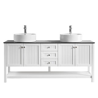 """Modena 72"""" Double Vanity in White with Glass Countertop with White Vessel Sink without Mirror"""