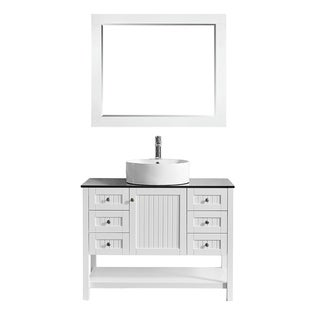 """Modena 42"""" Vanity in White with Glass Countertop with White Vessel Sink with Mirror"""