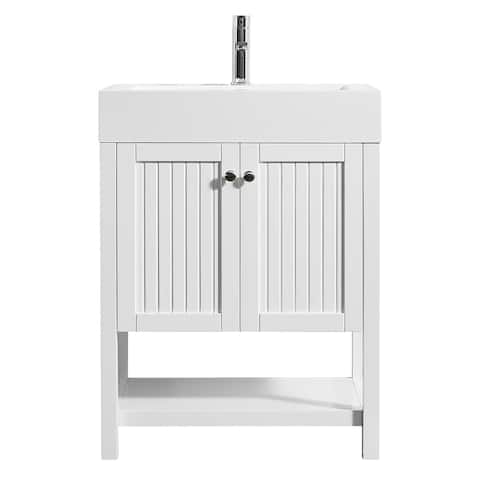 "Pavia 28"" Single Vanity in White with Acrylic under-mount Sink with Mirror without Mirror"