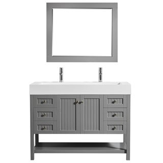 """Pavia 48"""" Single Vanity in Grey with Acrylic under-mount Sink with Mirror"""