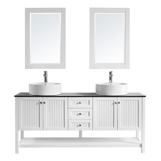 "Modena 72"" Double Vanity in White with Glass Countertop with White Vessel Sink with Mirror"