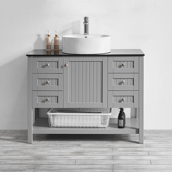 Shop Modena 42 Quot Vanity In Grey With Glass Countertop With