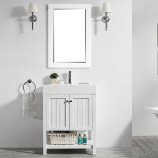"Pavia 28"" Single Vanity in White with Acrylic under-mount Sink with Mirror"