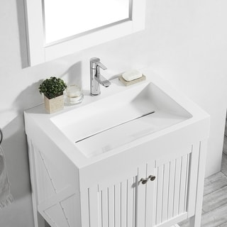 Pavia 28 Single Vanity in White with Acrylic under-mount Sink with Mirror