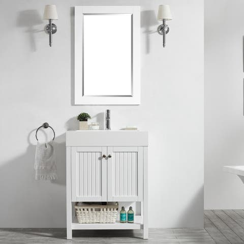 """Pavia 28"""" Single Vanity in White with Acrylic under-mount Sink with Mirror"""
