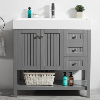 """Pavia 36"""" Single Vanity in Grey with Acrylic under-mount Sink with Mirror without Mirror"""