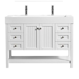 "Pavia 48"" Single Vanity in White with Acrylic under-mount Sink with Mirror without Mirror"