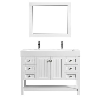 "Pavia 48"" Single Vanity in White with Acrylic under-mount Sink with Mirror"