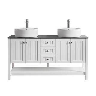 "Modena 60"" Double Vanity in White with Glass Countertop with White Vessel Sink without Mirror"