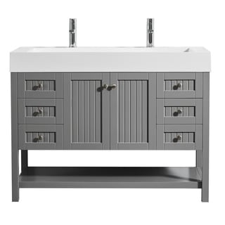 "Pavia 48"" Single Vanity in Grey with Acrylic under-mount Sink with Mirror without Mirror"