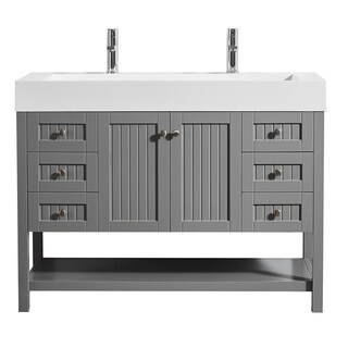 """Pavia 48"""" Single Vanity in Grey with Acrylic under-mount Sink with Mirror without Mirror"""