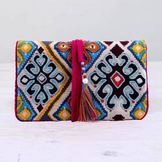 Handmade Cotton 'Colorful Gallery' Jewelry Roll (India)