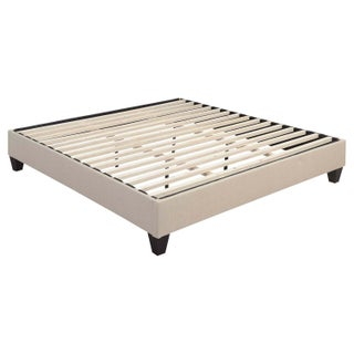 Picket House Furnishings Abby King-size Cream/Espresso Fabric/Wood Platform Bed
