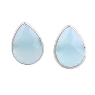 Link to Handmade Raindrop Prisms Sterling Silver Chalcedony Earrings (India) Similar Items in Earrings