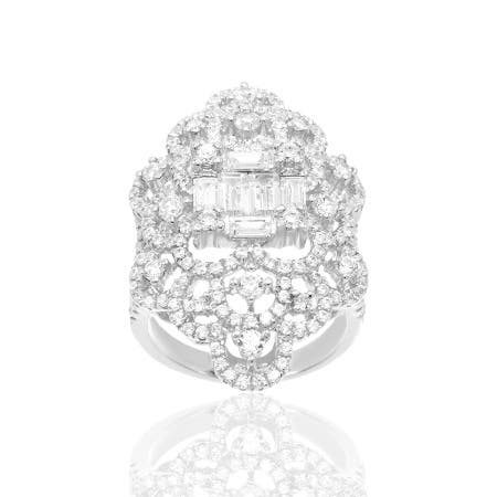 Sterling Silver Cubic Zirconia Composite Ring - Clear
