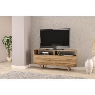 "Boahaus 60"" TV Stand, 1 door, two compartments, 2 open shelves, Brown"