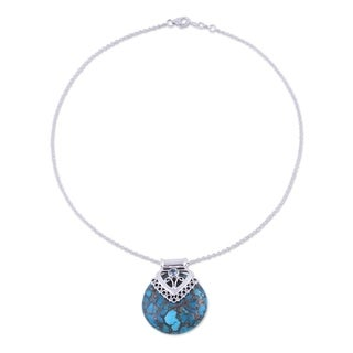 Handmade Sterling Silver 'Ocean's Glory' Turquoise Topaz Necklace (India)