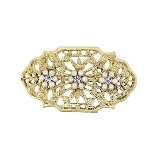 Downton Abbey Gold Tone Edwardian Filigree Simulated Pearl and Crystal Oval Bar Pin