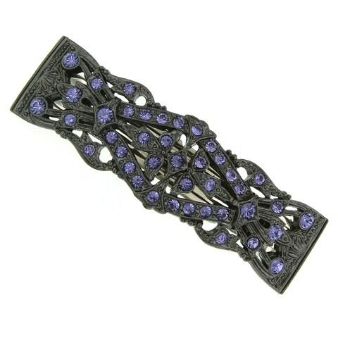 1928 Jewelry Black Tone Hair Barrette with Tanzanite Color Swarovski Elements Crystals