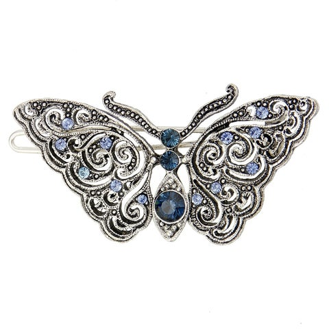 1928 Jewelry Silver Tone Montana Blue and Light Sapphire Crystal Butterfly Barrette