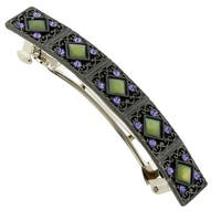 1928 Jewelry Black Tone Tanzanite Color Crystal and Mother of Pearl Barrette