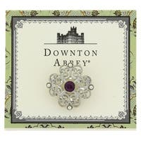 Downton Abbey  Silver Tone Simulated Pearl and Purple Crystal Brooch