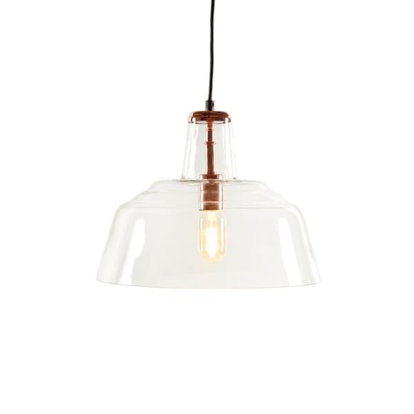 Mid Century Brass Oval Glass Chandelier
