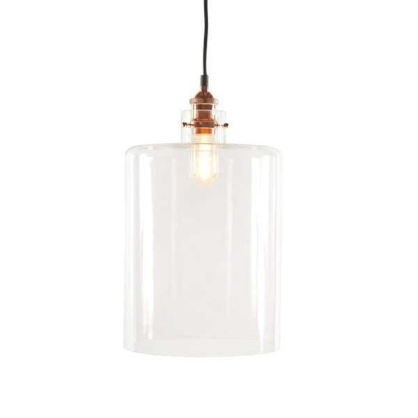 CDI Furniture Kenzi Mid-century Copper Steel and Clear Glass Chandelier