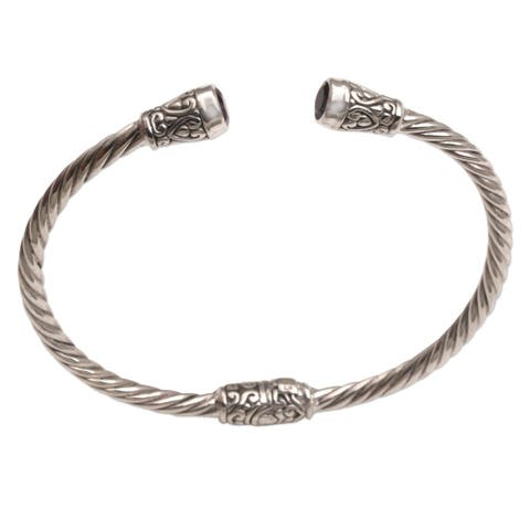 Handmade Sterling Silver Spiral Temple Amethyst Bracelet (Indonesia)