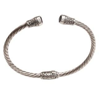 Handmade Sterling Silver 'Spiral Temple' Amethyst Bracelet (Indonesia)