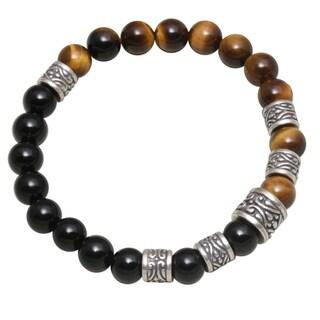 Handmade Men's Sterling Silver 'Batuan Renaissance' Tiger's Eye Onyx Bracelet (Indonesia)