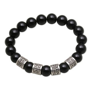 Handmade Men's Sterling Silver 'Shrine Shadow' Onyx Bracelet (Indonesia)
