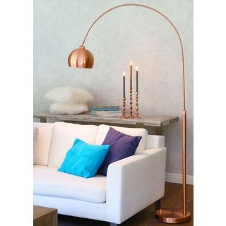 Urban Designs Solid-rose-gold-finished Iron 60-watt 1-light Arc-style Floor Lamp With Dome Shade and Marble Stone Base