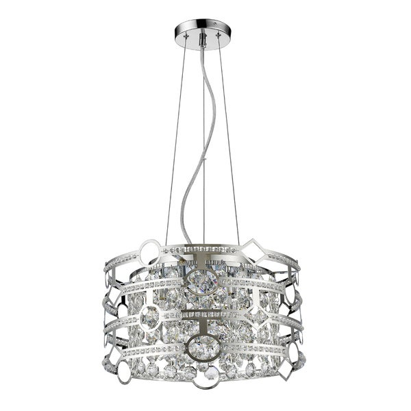 Acclaim Lighting Meghan IN31075PN Polished Nickel Steel 50-watt 5-light LED Indoor Drum Pendant Light With Hanging Crystals