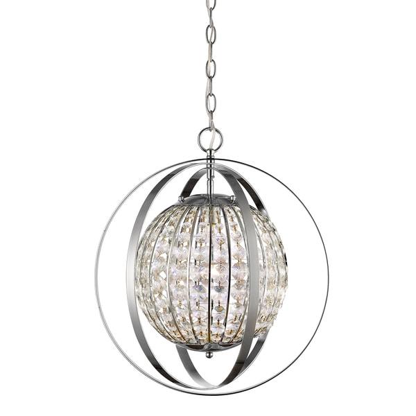 Acclaim Lighting Olivia Polished Nickel Steel 1-Light Indoor Pendant with Crystals