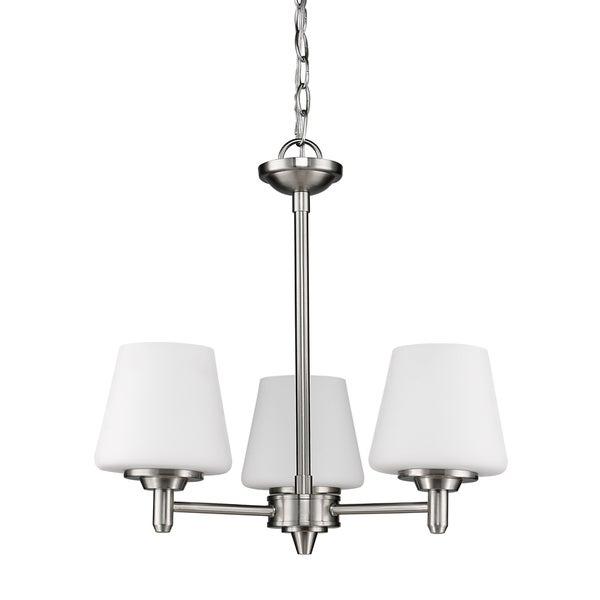 Acclaim Lighting Paige Indoor 3-Light Chandelier With Glass Shades In Satin Nickel