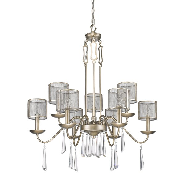 Acclaim Lighting Rita Washed Gold Finish Steel 9-light Indoor Chandelier With Mesh Shades and Crystals