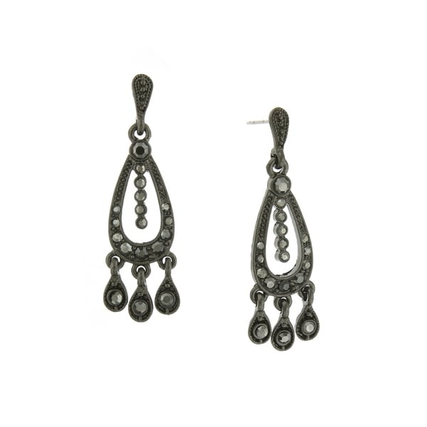 1928 Jewelry Black Tone Belle Epoch with Pave Hematite Color Stones Chandelier Earrings