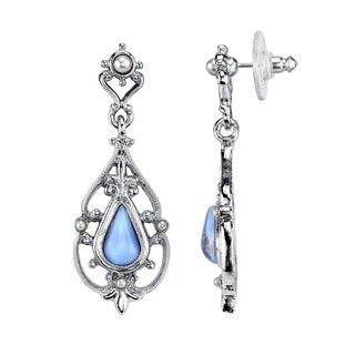 1928 Jewelry Boxed Silver Tone Filigree and Imitation Blue Moonstone Teardrop Earrings
