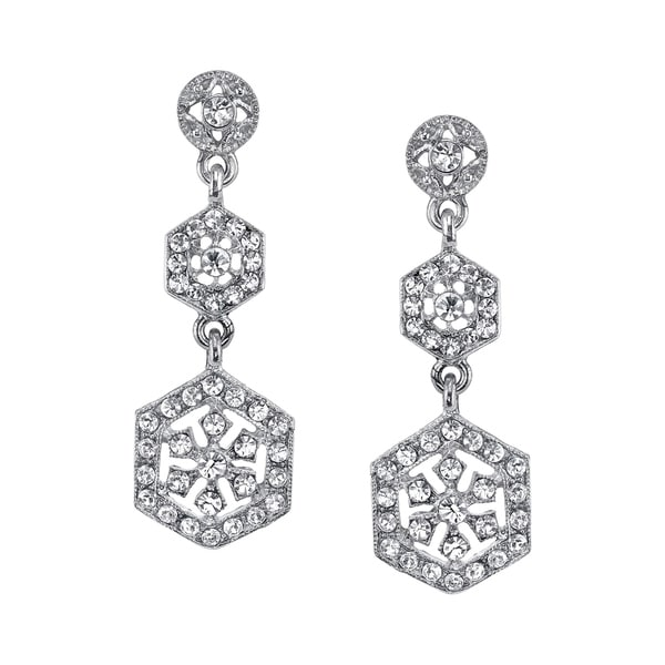 1928 Jewelry Silver Tone Crystal Linear Post Drop Earrings