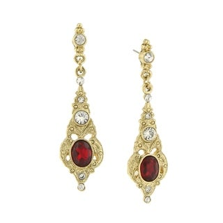 1928 Jewelry Gold Tone Belle Epoch Red Stone and Crystal Drop Earrings