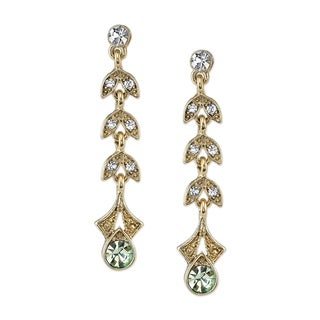 1928 Jewelry Gold Tone Light Green and Crystal Linear Earrings