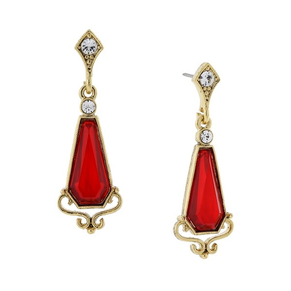 1928 Jewelry Boxed 14K Gold Dipped Red Stone and Clear Crystal Accent Drop Earrings