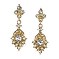 1928 Jewelry Gold Tone Simulated Pearl and Crystal Drop Earrings