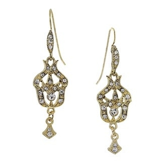 1928 Jewelry Gold Tone Belle Epoch Pave Fleur with Crystal Accents Drop Earrings